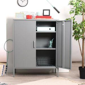 CONFITURIER Cabinet de rangement indus 3 étagères en métal gri