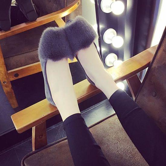 Femmes Femmes Slip On Sliders Fluffy en fausse fourrure plat Slipper Flip Flop Chaussures simples@Gris Benjanies Gris Gris - Achat / Vente slip-on