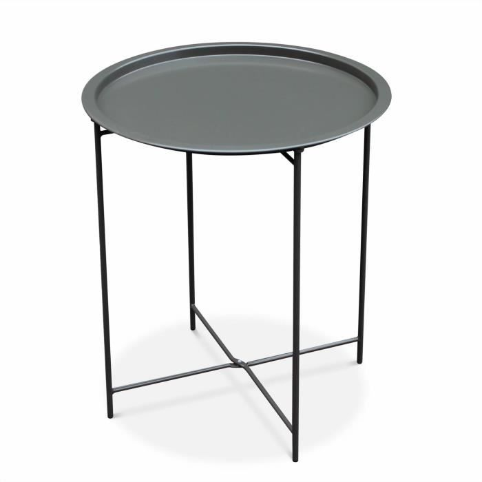 Table basse ronde – Alexia gris anthracite – Table d\'appoint ronde ...