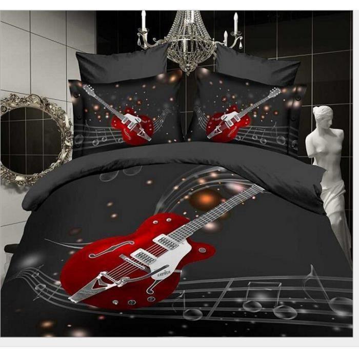 linge de lit musique Parure de lit housse de couette musique de guitare de lit rouges  linge de lit musique
