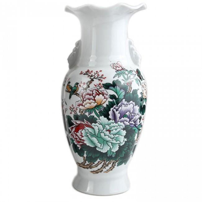 vase de decoration Vase De Décoration Asiatique - Motif Symboles De Prospérité - H. 28 Cm