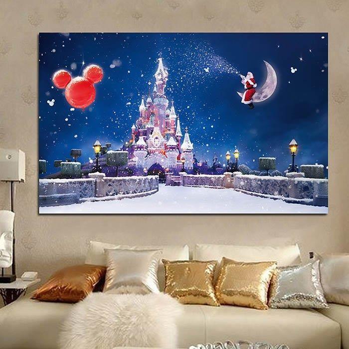 Décoration De Noël Toile Pour Tableau Panneaux Mural Pas De Cadre - Canapé convertible scandinave pour noël decoration murale