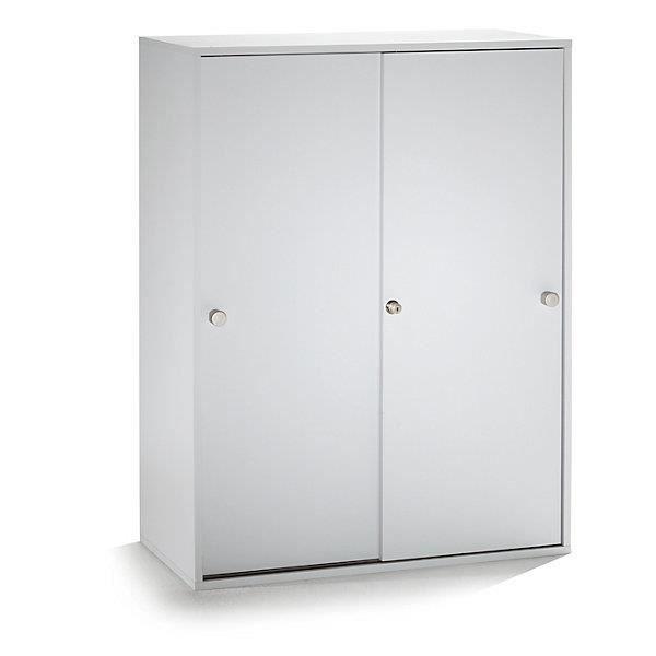VERA Armoire portes coulissantes 2 tablettes 3 hauteurs de