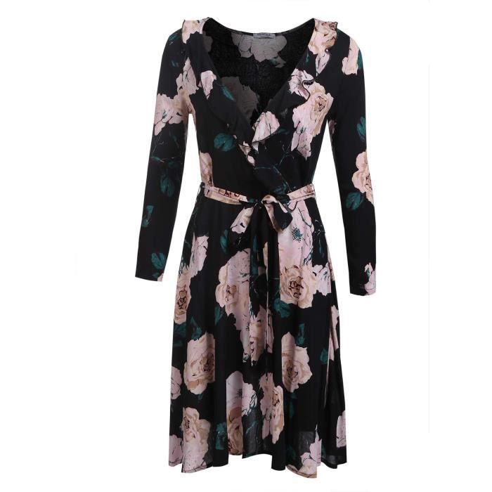 A Line Robe Femme Mode Cross V Cou à manches Longues Floral avec ceinture
