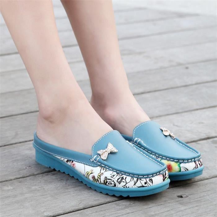 Femmes Flats Mode Chaussures en cuir véritable Chaussures Femme Slip sur les femmes Mocassins Chaussures Zapatos Driving Mujer 3 Smn8SA6