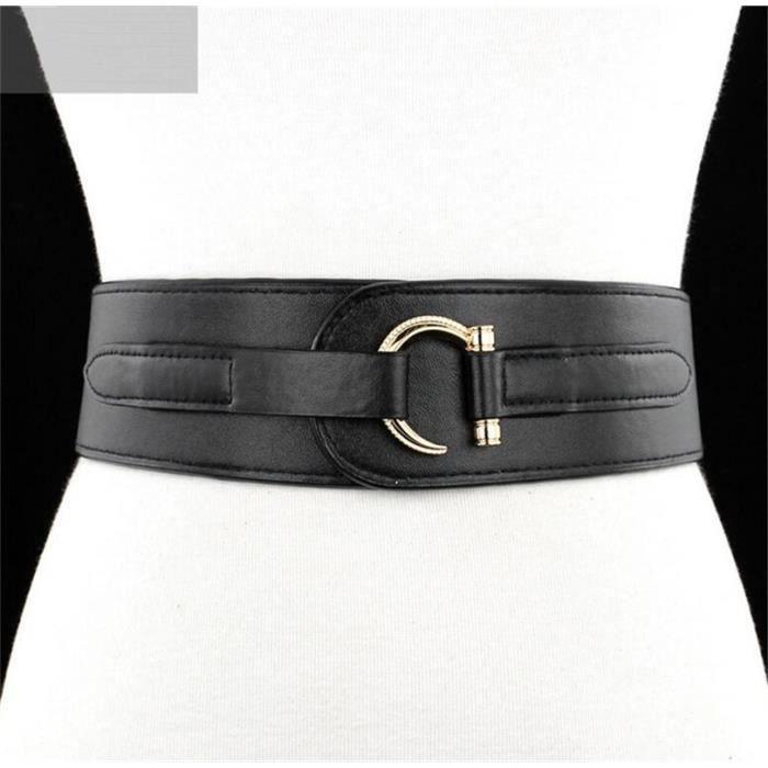 Cuir véritable Large ceinture elastique pour la femme Simple Boucle Noir ce5604c2c19