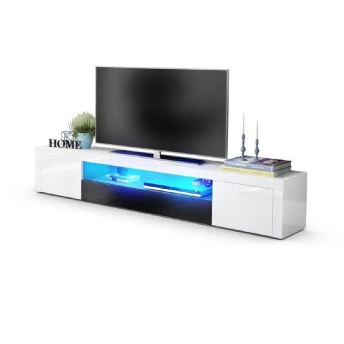 Meuble tv moderne laqué blanc et noir 200 cm avec led Achat