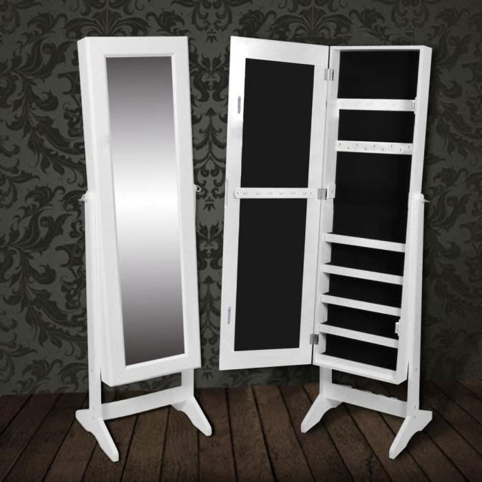 Genial Armoire à Bijoux Rangement De Porte Miroir Meuble Chambre 40 X 36 X 146 Cm  (L X L X H) Blanc