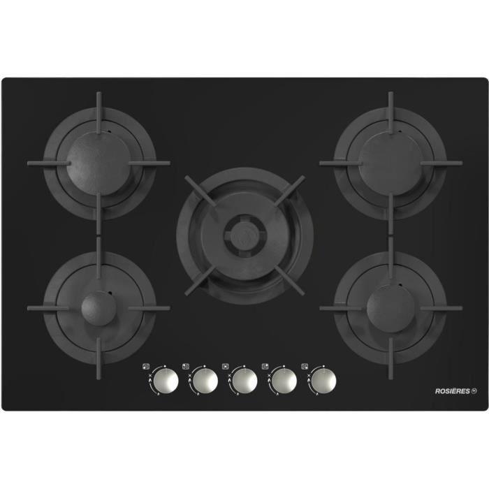 Table de cuisson gaz ROSIERES RGV75WFM PN - Achat   Vente plaque gaz ... cf602f42268a