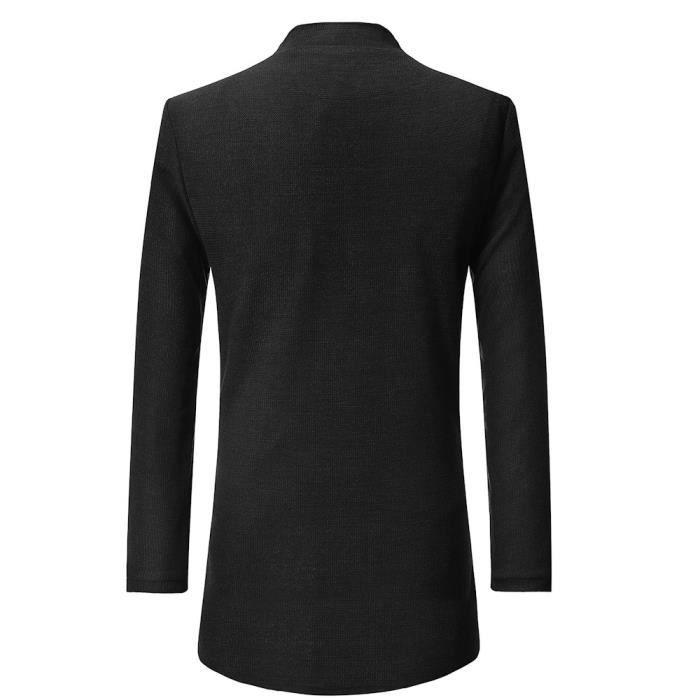 Jacket Bouton De Outwear Manches Les Longues Solide À Manteau Hommes Plus Poche Chaud D'hiver Wind XwAqOSB