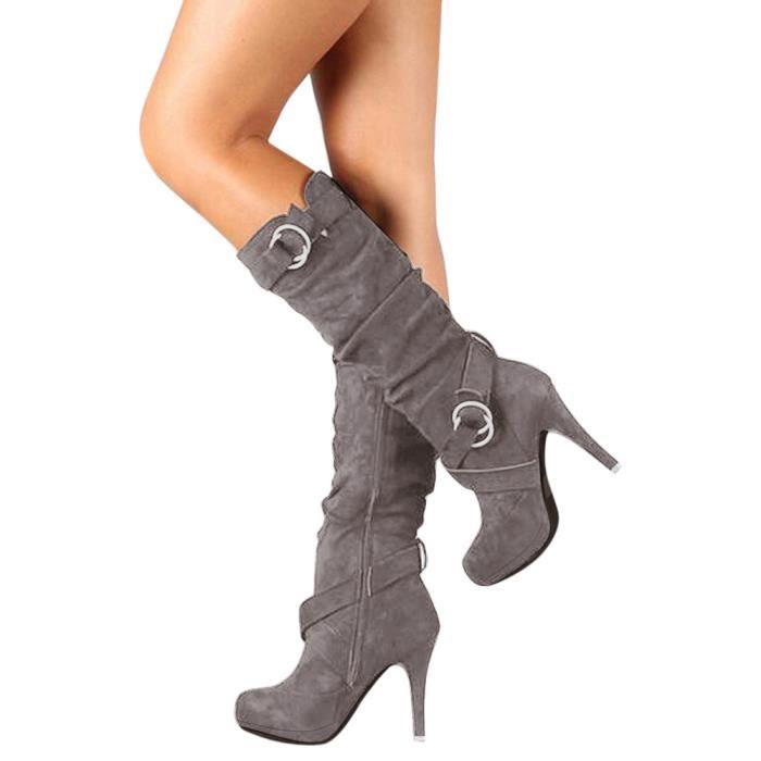 Em23864 Chaussures Bottes Femmes Romaine Lansman Talons femmes Martin Boucle Pour Plateforme Long AqxHwP