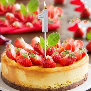 Figurine décor gâteau Nombre d'argent 1 Anniversaire numéral bougies Nom