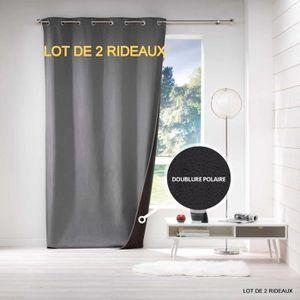 RIDEAU Lot de 2 rideaux thermique doublé polaire 140 x 26