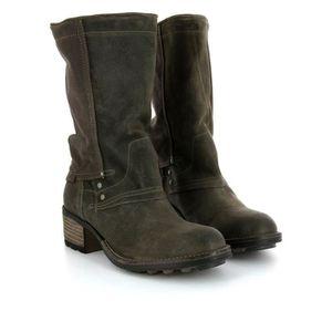 Napoulen®Femmes chevalier boucle bottes Martin plat en cuir Mode populaire Marron-XMM71025533BW UC5KG3nBz