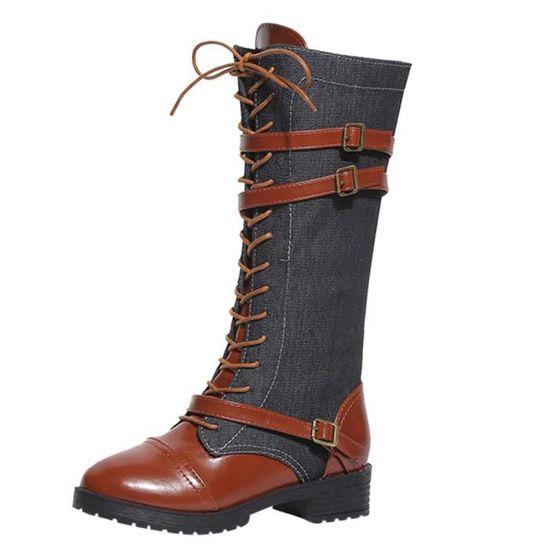Cuissardes Équitation Denim Noir Long Bottes Martin Femmes Chaussures De Romaine Pour boy Cow 7Uwx7fqX