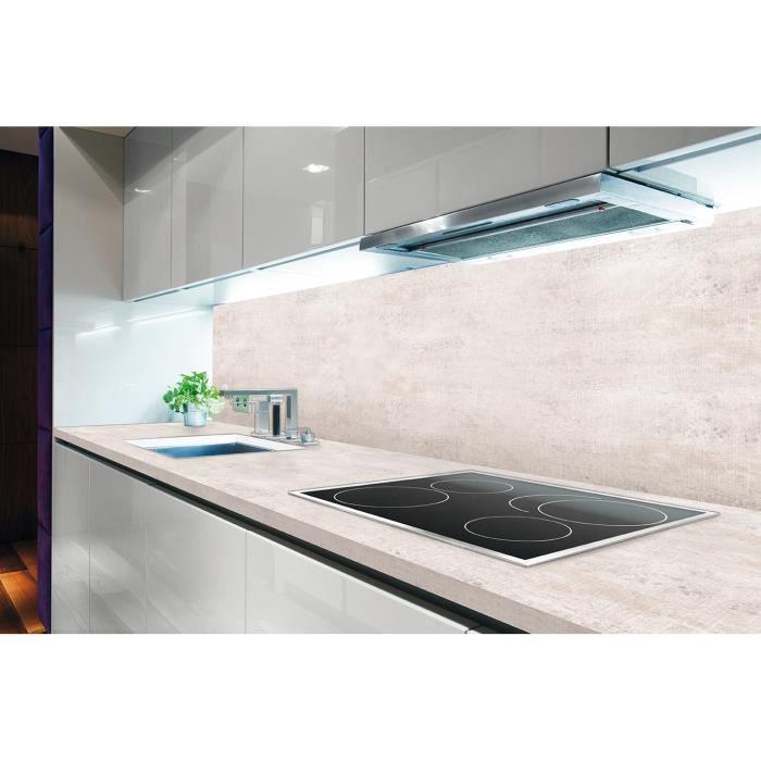 Chant droit hydrofuge aspect ciment blanchi - Dimensions : L 235 x P 65 x H 3,8 cm - Traitement antibactérienPLAN DE TRAVAIL
