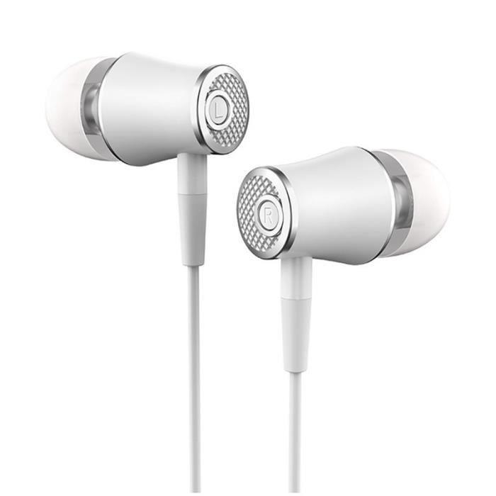 Écouteur Intra-auriculaire À Basse Lourde R21 Avec Microphone Blanc