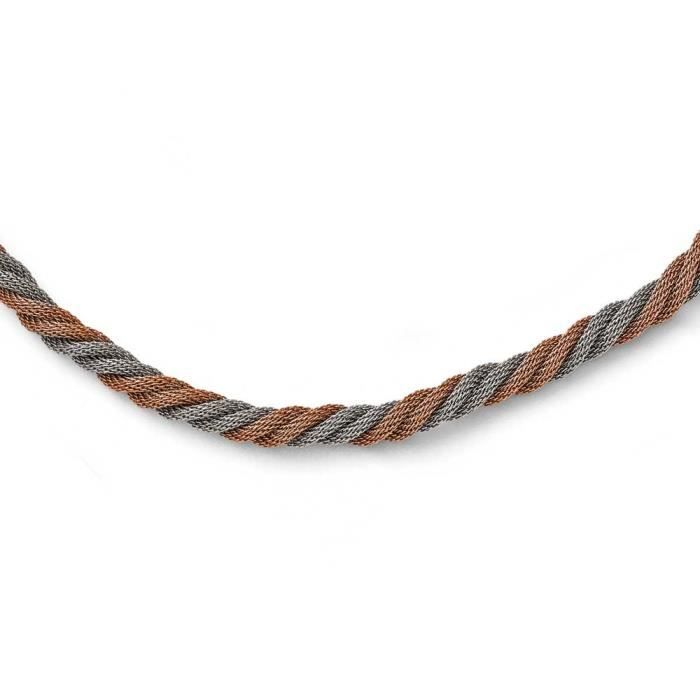 En acier inoxydable poli plaqué Ip Rose en maille torsadée-17,5 cm