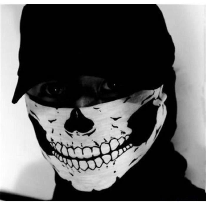 9a5d88dcfea6 Crâne Squelette Cou Écharpe Tube masque Vélo Cagoule Balaclava Snood ...