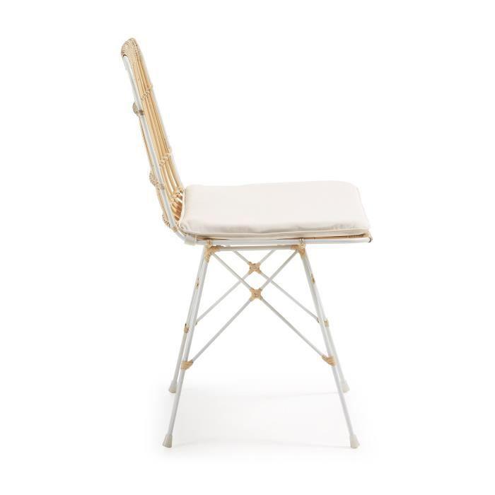 CHAISE Chaise En Rotin Et Mtal Blanc Ainisa Couleur Blan