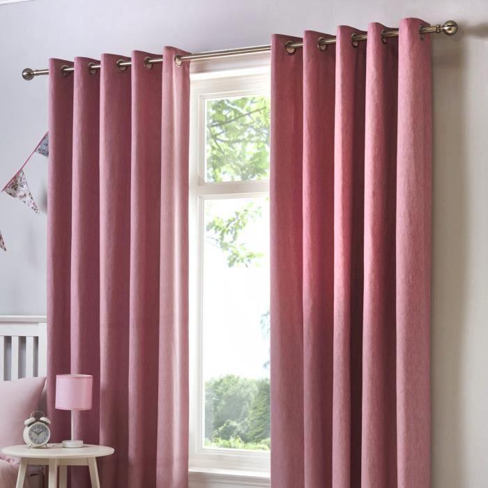 Double rideaux rose coton - Achat / Vente pas cher