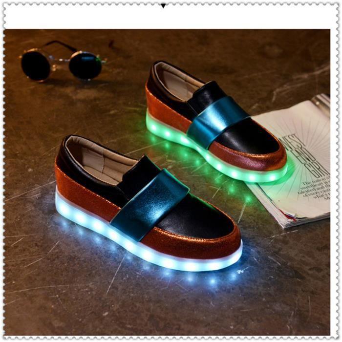 Femme 7 Couleur USB Charge LED Lumière Lumineux Clignotants Chaussures de Sports Baskets