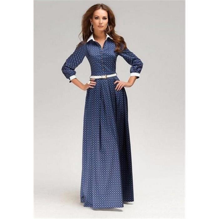À Bleu Manches Longue Robe Quarts Bouton Trois Achat Femme 0vmNnw8