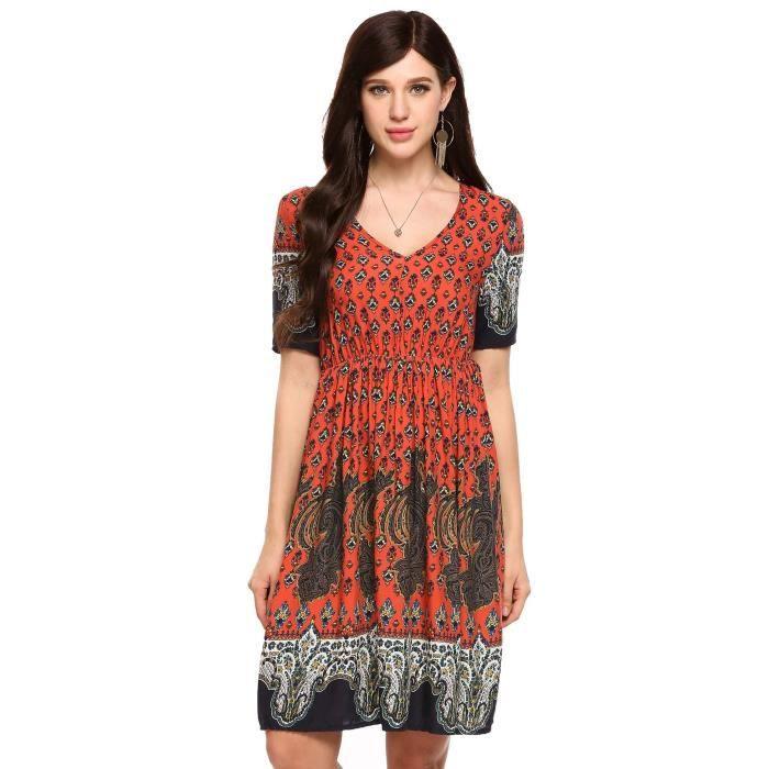 Femmes robe à manches courtes imprimés floraux V Neck