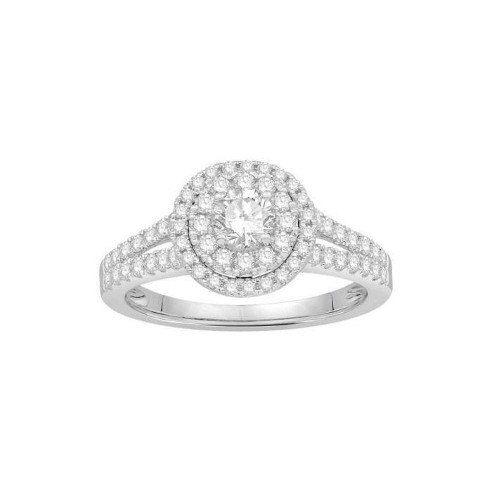 BAGUE - ANNEAU Bague diamants type solitaire halo épaulé Or blanc