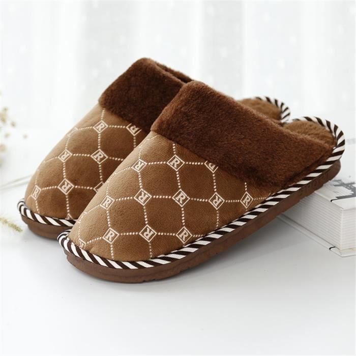 chaussons hommes hiver chaud léger version pantoufle homme Neige 3D Impression intérieur chaussures Haut quali dssx394gris42 B4YajD