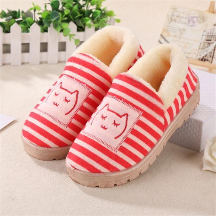 Cotton Lips Milk Mode Pantoufles Cartoon chaud Couple chaussons hommes et femmes Chaussons Chaussures,rose,34