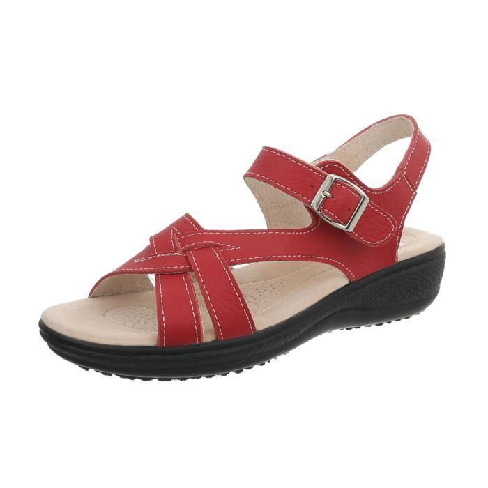 Cuir Femmes Chaussures Sandales Confortable Véritable Été TFJuK1lc3