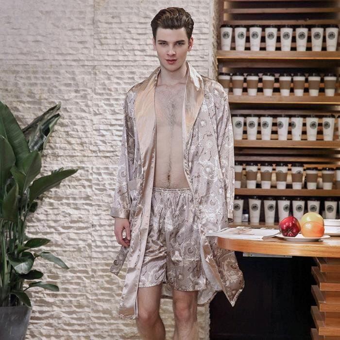 6254ccd150f Pyjama Manches longues col rabattu soie robe en satin de soie hommes  peignoir chemise de nuit maison pyjamas - kaki