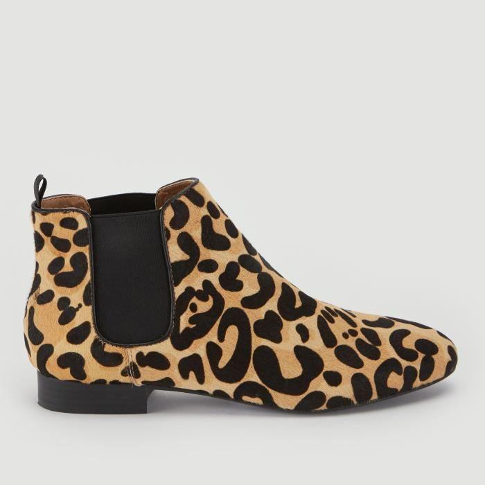 BOTTINE Boots en cuir imprimé léopard