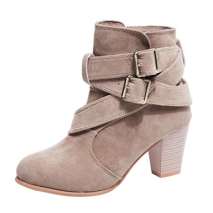 Bottes En Kaki Hauts Talons Martain y De Daim Chaussures Casual Femmes Bottines Boucle Sangle Démarrage 1390 qaWX0