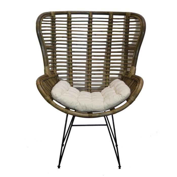 fauteuil relax en rotin métal et coussin canada - achat / vente