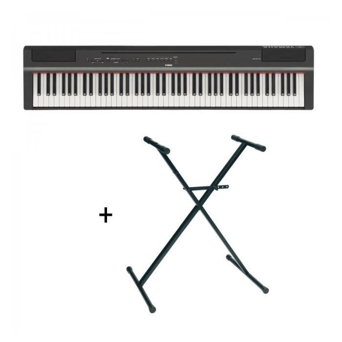 Pack Yamaha P125 Noir Piano Numérique 88 Touches Stand En X