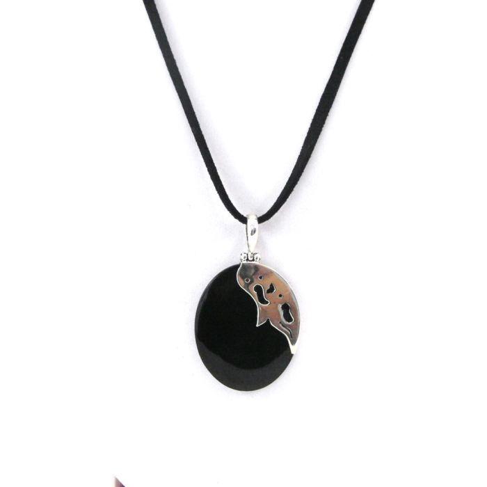 Collier Argent Mineralia nacre noir