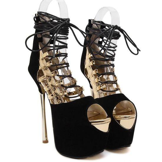 Mode Femmes sexy Bandage Chaussures à talon sexy Femmes Peep Toe Escarpin Sandales  Or  Or - Achat / Vente escarpin 532242