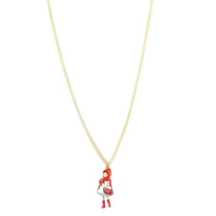 Collier - sautoir artisanal Monde Merveilleux (Chaperon Rouge) rouge doré [P2024]