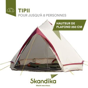 TENTE DE CAMPING Skandika Comanche - Tente tipi 8 personnes -sable-