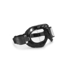 LUNETTES - MASQUE Lunette Moto Pur Cuir Noir - Anti-buée - Profil en