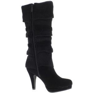 BOTTE Bottes femmes chaussette fourrées noires à talon f