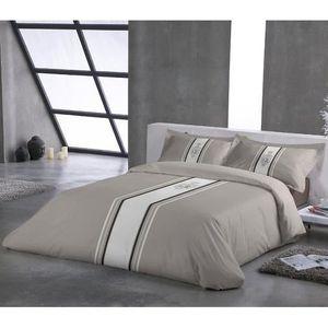 parure couette taupe achat vente parure couette taupe pas cher cdiscount. Black Bedroom Furniture Sets. Home Design Ideas