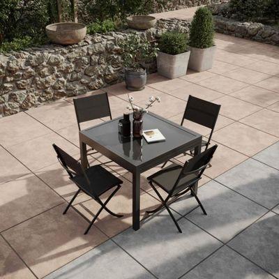 Table de jardin extensible aluminium 90-180cm + 4 Chaises pliantes ...