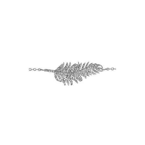 Bracelet argent rhodié feuille horizontale oxydes