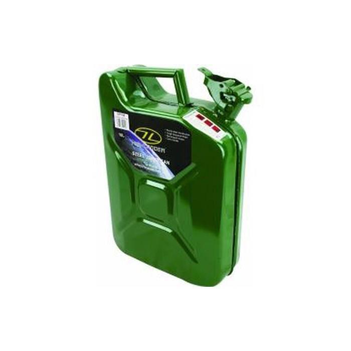Jerrican en acier, de couleur vert.JERRICAN EAU