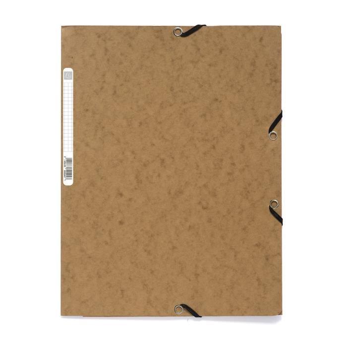 EXACOMPTA - Chemise à élastiques 3 rabats - 24 x 32 - Carte lustrée 390G - Couleur tabac