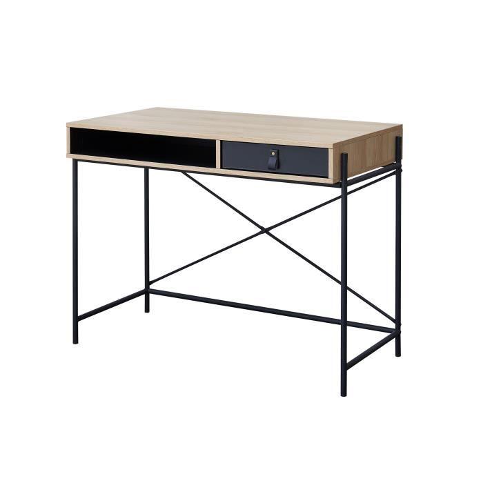 WORKSHOP Bureau enfant - 1 tiroir et 1 niche - Poignée boucle en pvc - Chêne/Noir - L99,8 x P55 x H7