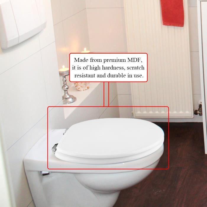 Siège de toilette blanche en MDF avec charnières ajustables ...